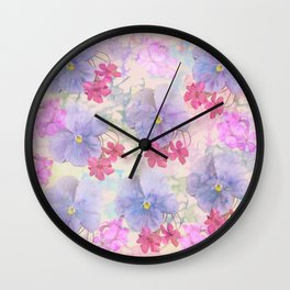 Painterly purple pansies and pink Oxalis Wall Clock