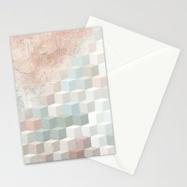 Distressed Cube Pattern - Nude, turquoise and seashell Stationery Cards