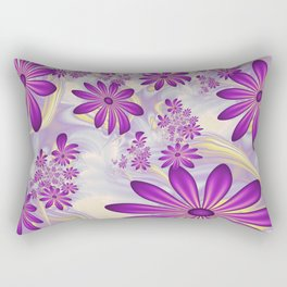 Fractal Art Dancing Purple Flowers Rectangular Pillow