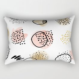 Mid Century Modern Abstract Blush and Gold Pattern I Rectangular Pillow
