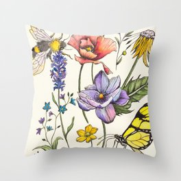 Bees & Flowers Watercolour Pattern Throw Pillow