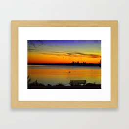 Sunset over White Rock Lake Dallas Framed Art Print