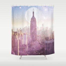 I LOVE PINK NEW YORK CITY SKYLINE - Full Moon Universe Shower Curtain