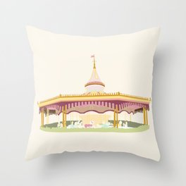Carousel 2 - cream background Throw Pillow