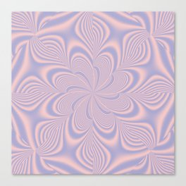 Whirly Bloom Fractal in Rose Quartz and Serenity Canvas Print