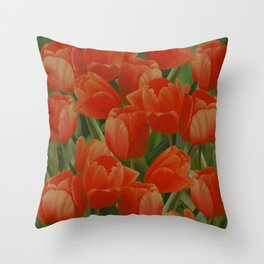 Red Tulips Field Throw Pillow