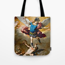 Archangel Michael Hurls the Rebellious Angels into the Abyss Tote Bag