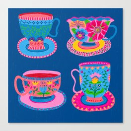 Bright Colorful Teacups Canvas Print