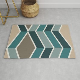Mid Century Modern Diagonal Stripes Teal and Gold Rug