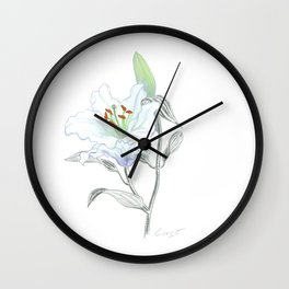 Lily 01 Botanical Flower * White Casablanca Lily Wall Clock