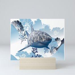 Blue shark coral seaweed wall hanging home deco Mini Art Print