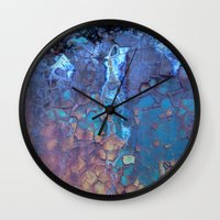 cracked Wall Clocks featuring Waterfall  by Lena Weiss