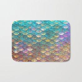 Aqua and Gold Mermaid Scales Bath Mat