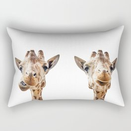 Funny Giraffe Portrait Art Print, Cute Animals, Safari Animal Nursery, Kids Room Poster, Wall Art Rectangular Pillow