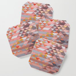 Triangle Pattern no.5 Gold, Pink and Brown Coaster