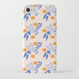 Floral Pattern Indigo Orange Blue iPhone Case