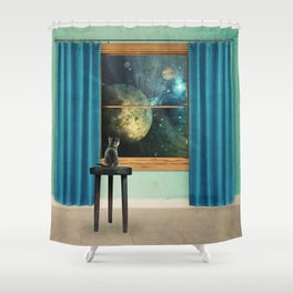 A cat looking outside Shower Curtain