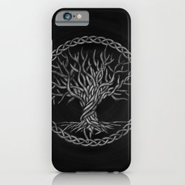 Tree of life -Yggdrasil -grayscale iPhone Case