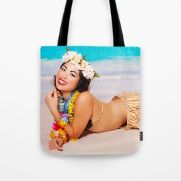 """Sandy Shores"" - The Playful Pinup - Tropical Beach Pin-up Girl by Maxwell H. Johnson Tote Bag"