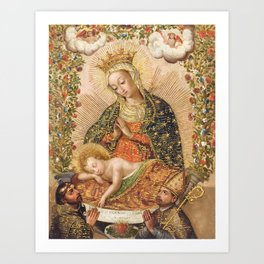 The Virgin Adoring the Christ Child with Two Saints Art Print
