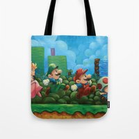 mario bros Tote Bags featuring Super Mario Bros 2 by Josh J Dunbar