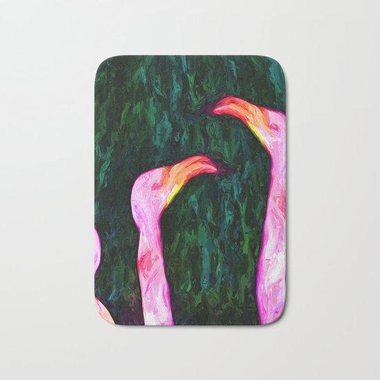 Pink Flamingos and Green Leaves Bath Mat
