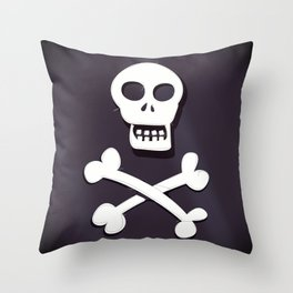 Pirate Skull and crossbones flag Throw Pillow