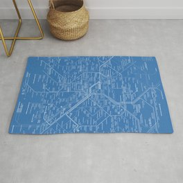 Paris Metro Map - Blue Rug