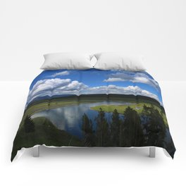 Meadow With Yellowstone River Comforters