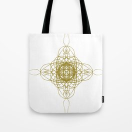 Gold with m on white Tote Bag