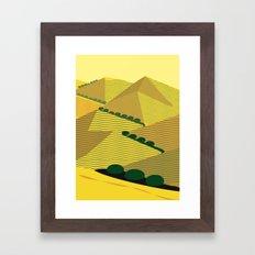 California Hills and Oaks in Yellow Ochre Framed Art Print