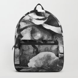 Black Rose - Painting Style - Black and White - Art Gift Backpack