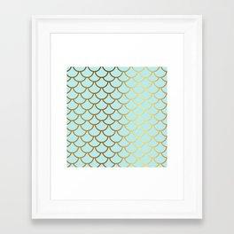 Aqua Teal And Gold Foil MermaidScales - Mermaid Scales Framed Art Print