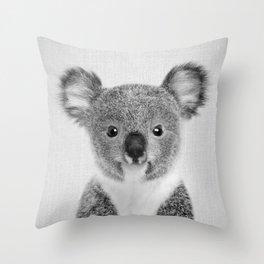 Baby Koala - Black & White Throw Pillow