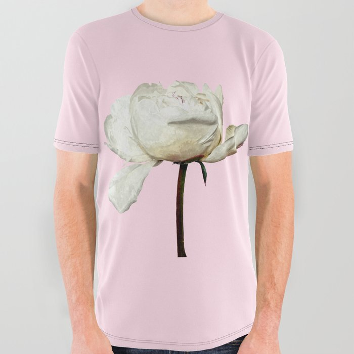White Peony Pink Background All Over Graphic Tee
