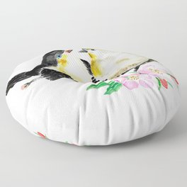 birds and apple flower blossom Floor Pillow
