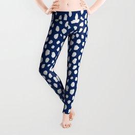 Handmade polka dot brush strokes (white/navy blue) Leggings
