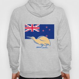 Kiwi Bird NZ Flag Woodcut Hoody