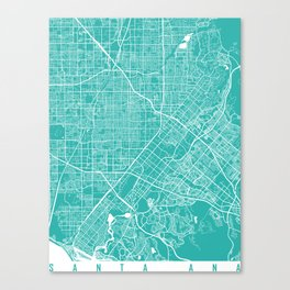 Santa Ana map california turquoise Canvas Print