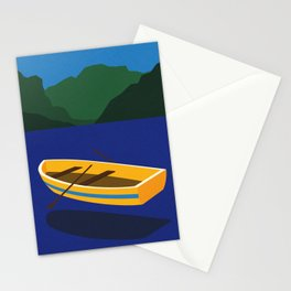 Boat On The Mountain Lake Stationery Cards
