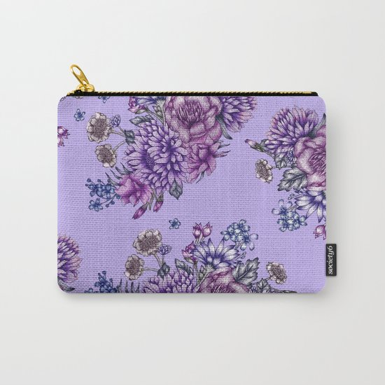 Vintage Purple Florals Carry-All Pouch