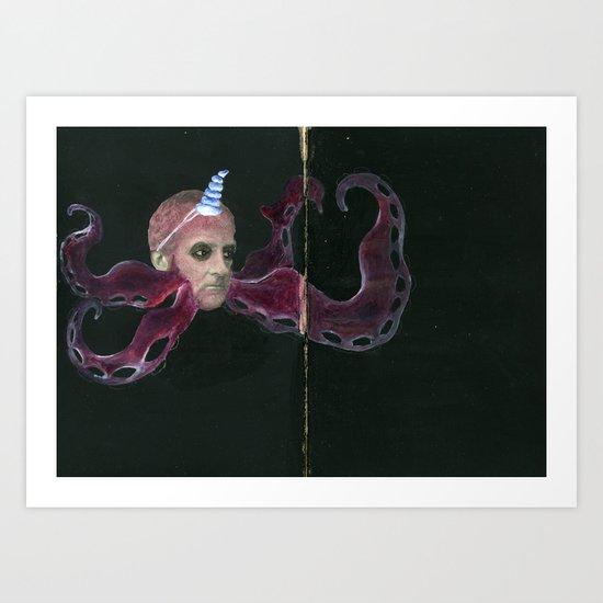 Octopus Beard Guy Art Print