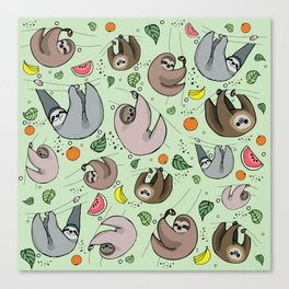 Sloth Party Canvas Print