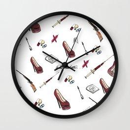 #pattern starter pack of a rude girl. Wall Clock