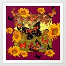 Abstracted  Burgundy Sunflowers & Orange Monarch Butterflies Art Print