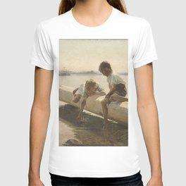 Albert Edelfelt - Two Boys on a Log (The Little Boat) T-shirt