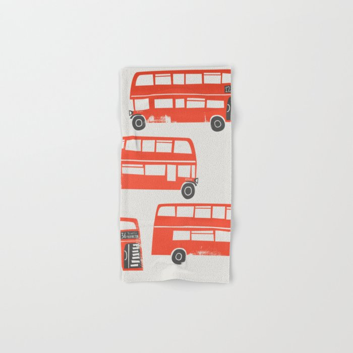 London Double Decker Red Bus Hand & Bath Towel