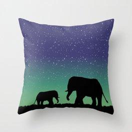 Elephant Silhouettes  Throw Pillow