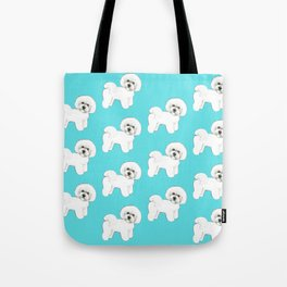 Bichon Frise on aqua / teal / cute dogs/ dog lovers gift Tote Bag