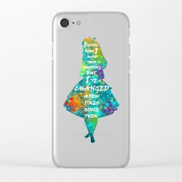 Alice In Wonderland - Quote - Colorful Watercolor White Text Clear iPhone Case